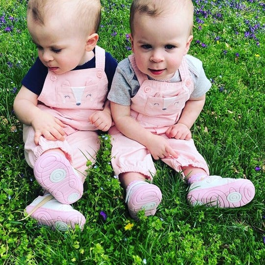 Ella, left, and Eve Oakley are 2-year-olds from Marysville, Pennsylvania, living with a difficult diagnosis: Retinoblastoma, a cancer of the eyes, discovered as Eve, just weeks old at the time, was being treated for a twisted bowel and a series of frightening close calls.