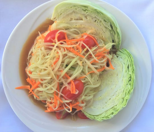 Thai-style papaya salad, less pungent than the Laotian version of this dish, from the Asian Street Eats food truck of Reno.