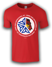 """A Rochester Red Wings' """"GRIM & DEPRESSING"""" T-shirt featuring the Rochester flower symbol and team mascot Spikes."""