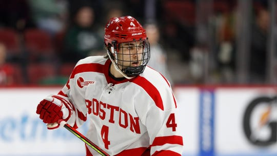 Victor's David Farrance, a junior at Boston University, leads Division I hockey defensemen in scoring and has been nominated for the Hobey Baker Award.