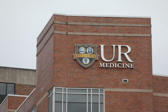 UR Medicine logo is posted on one of the buildings at Strong Memorial Hospital in Rochester on March 3, 2020.