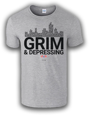 """A """"GRIM & DEPRESSING"""" Rochester Red Wings T-shirt featuring a list of uniquely Rochester places and products."""