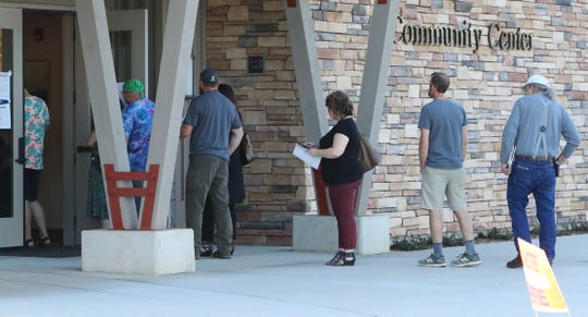 The polling place at the Shasta Lake Community Center was a popular spot after 5 p.m. Tuesday, March 3, 2020, as the line of voters extended out the doors.