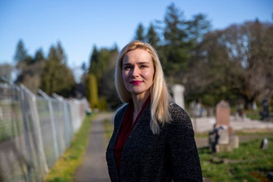 City council member Vanessa Nordyke discusses a potential gate at the Pioneer Cemetery in Salem on Feb. 20, 2020.