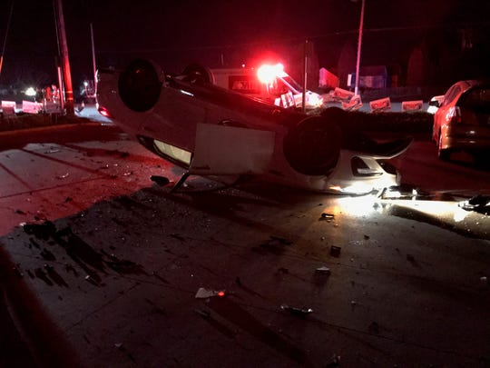 A woman flipped her car on Highway 68, just south of Blanco Road, as she trying to attend a candidate's election nightparty March 3, 2020.