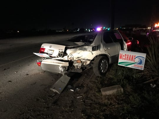 One of the cars involved in a collision on Highway 68 Tuesday night. March 3, 2020.