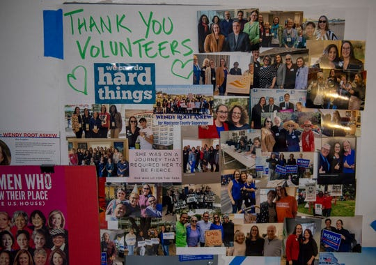 A collage of the Democratic volunteers is posted inside the Monterey County Democrats office on March 3, 2020.