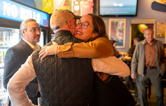 Wendy Root Askew celebrates her watch party at Post No Bills. Askew is running for the District 4 seat Monterey County Board of Supervisors. March 3, 2020.