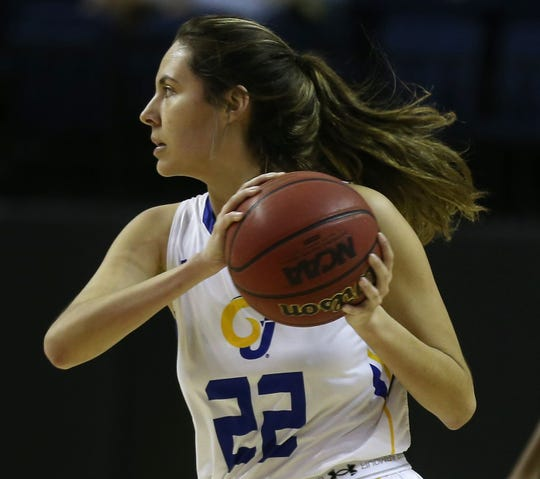Angelo State University's Sam Rocha looks to make a pass during a win against Midwestern State in the first round of the Lone Star Conference Women's Basketball Tournament at the Junell Center on Tuesday, March 3, 2020. The freshman is a former Wall High School standout.