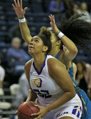 Angelo State University's De'Anira Moore gets ready to put up a shot during a win against Midwestern State in the first round of the Lone Star Conference Women's Basketball Tournament at the Junell Center on Tuesday, March 3, 2020.