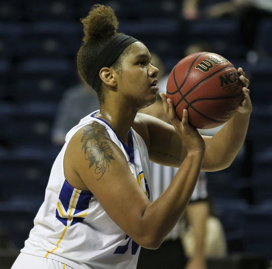 Angelo State University's De'Anira Moore gets ready to shoot a free throw during a win against Midwestern State in the first round of the Lone Star Conference Women's Basketball Tournament at the Junell Center on Tuesday, March 3, 2020. Moore had a game-high 28 points and pulled down nine rebounds in the Belles' 81-70 win.