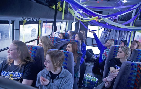 Members of the Veribest girls basketball team wave to supporters from the bus on Wednesday, March 4, 2020 as they head to the state tournament in San Antonio on Thursday.