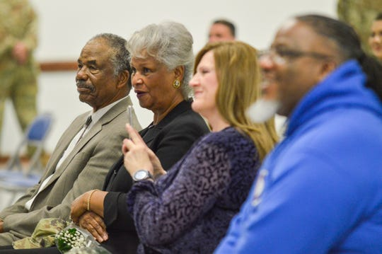 Verdis Walker's parents, Willie Davis and Margaret Walker-Davis, sit in the front row during his promotion ceremony on Wednesday, March 4, 2020. Walker was promoted to Command Sergeant Major in the Louisiana National Guard.