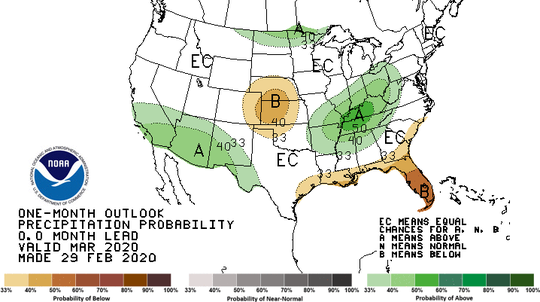 The 30-day precipitation outlook for Sioux Falls is near normal, according to the National Weather Service.