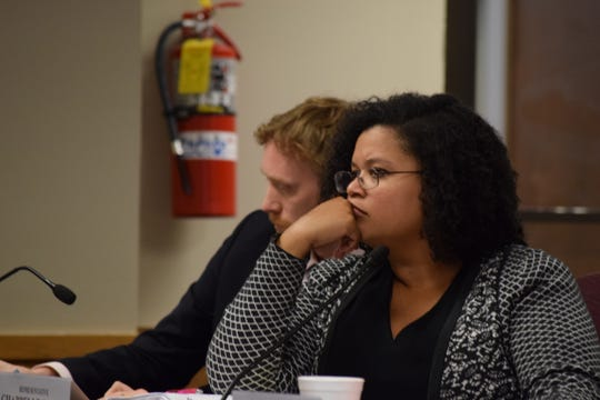 Rep. Maria Chapelle-Nadal, D-University City, listens to testimony regarding the rollout of the state's medical marijuana program in an oversight committee hearing on March 4, 2020.