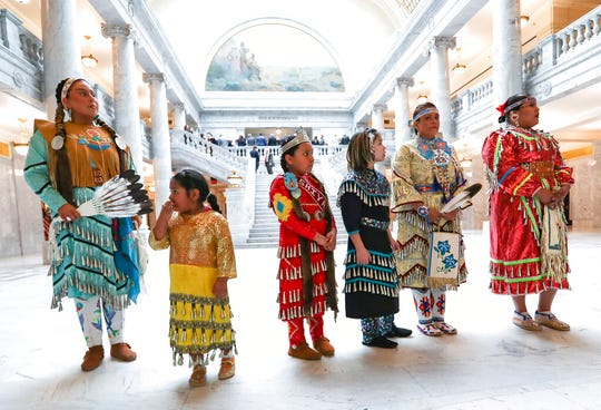 Jingle Dress dancers are pictured during an event to raise awareness for HB116 in the Capitol rotunda in Salt Lake City on Tuesday, March 3, 2020. The bill would create a Murdered and Missing Indigenous Women and Girls Task Force. (Steve Griffin/The Deseret News via AP)
