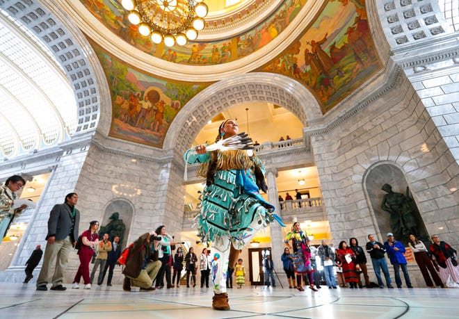 Tayler Gutierrez, of Sandy, and a member of the Cherokee and Blackfeet nations, performs the Jingle Dress dance during an event to raise awareness for HB116 in the Capitol rotunda in Salt Lake City on Tuesday, March 3, 2020. The bill would create a Murdered and Missing Indigenous Women and Girls Task Force. (Steve Griffin/The Deseret News via AP)