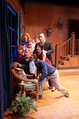 "Cultures collide and find a common enemy in the rampaging wildlife bearing down on them, in ""Farce of Nature"" (clockwise from bottom: M. Derek Nieves, Maddie Mahood, Debi Brigman, Scott Mock, Tom Sheehan, Debbie Frost, Mattie Ward, and Erika Stone) at Theatre Tallahassee."