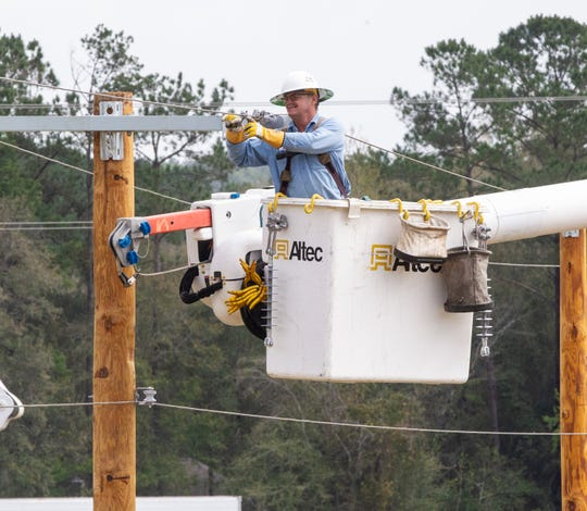 Linemen crews from across Florida setup mock electric poles for the 20th Annual Florida Lineman Competition to be held at the Tallahassee Automobile Museum, Saturday, March, 14, 2020.