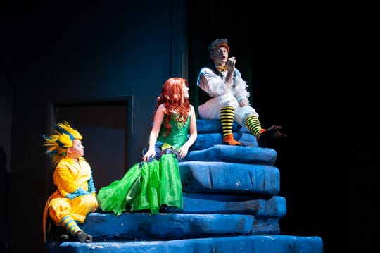 "Melanie Applegate as Ariel, Carson Broome as Flounder and Blake Stallings as Scuttle in the Quincy Music Theatre's Young Artist series production of ""Little Mermaid."""