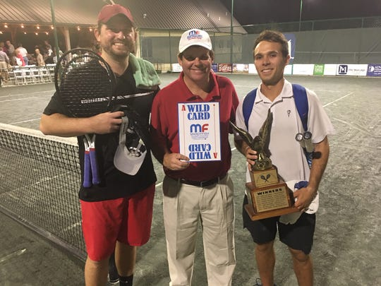 From left, King of the Hill runner-up Andrew Butz, Mardy Fish Children's Foundation Tennis Championships tournament director Randy Walker and King of the Hill champion Chase Perez-Blanco pose with their hardware after the King of the Hill tennis competition concluded Tuesday, March 3, 2020.