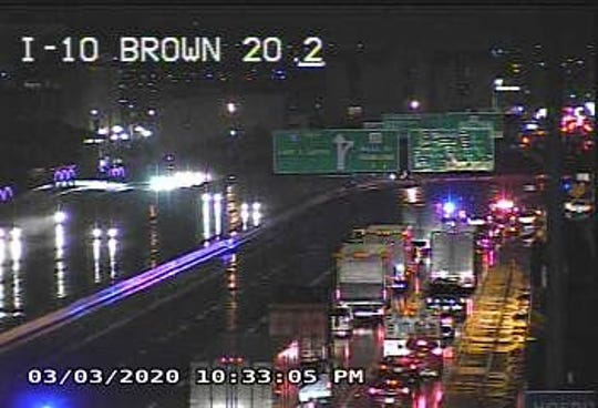 Texas Department of Transportation highway camera shows traffic backed up after a jackknifed tractor-trailer was blocked I-10 West in Downtown El Paso late Tuesday night, March 3, 2020.