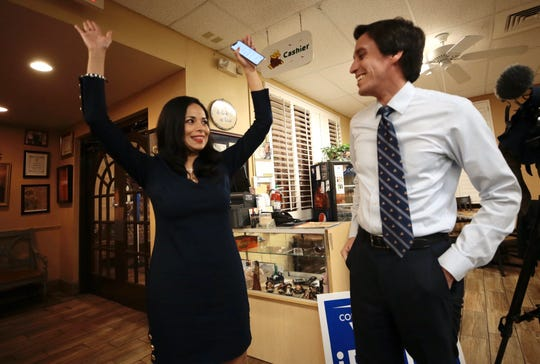Claudia Ordaz Perez celebrates with her husband, Vince Perez, on Tuesday, March 3, 2020, after early voting numbers showed her leading the primary race for state House District 76. She went on to win the election.