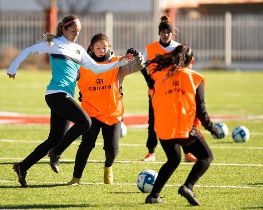 Players from FC Juarez's women's team practice late last year in Juarez