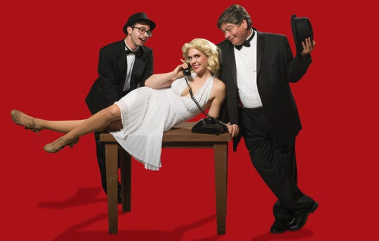 """Aaron Ellis, plays Leo Bloom, Randi Redman plays Ulla and Kelly Green plays Max Bialystockin The Conejo Players Theatre production of """"The Producers,"""" which opens March 6."""