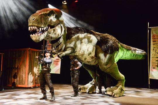 """A puppet Tyrannosaurus rex will be part of the interactive children's theatershow""""Dinosaur World Live"""" March 6 at theFredKavliTheatre in Thousand Oaks."""