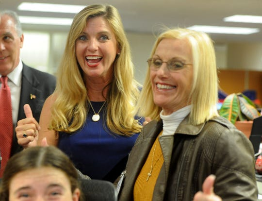 Kelly Long, left, along with her mother Gwen Speakes, right, celebrate the early results Tuesday night for the Third District race for supervisor at the Ventura County elections office in Ventura.