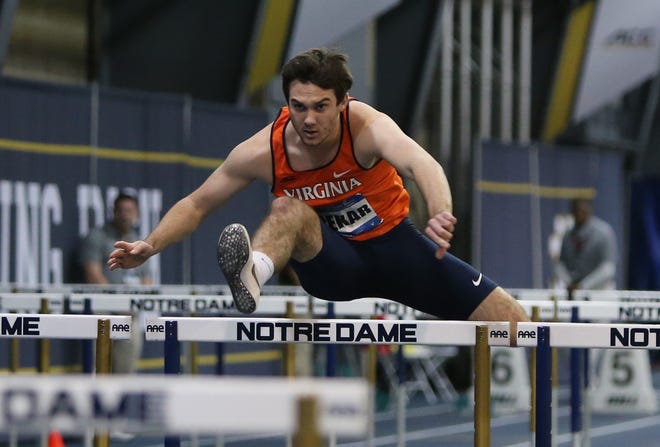 University of Virginia freshman Derek Pekar clears a hurdle while competing in the Atlantic Coast Conference men's heptathlon championship last week in South Bend, Indiana. The Ventura High graduate became just the second freshman to win the conference title in the heptathlon.