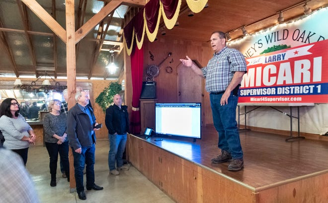 Larry Micari thanks his supports while waiting on election results at Whitney's Wild Oak Ranch on Tuesday, March 3, 2020.