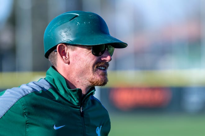 El Diamante head baseball coach Dillon Kelley against Clovis in a non-league high school baseball game on Thursday, February 20, 2020.