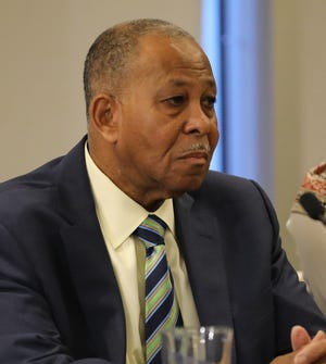 Benjamin Boykin, the Chairman of the Westchester County Board of Legislators is pictured as New York Governor Andrew Cuomo discusses the new cases of the Coronavirus in New Rochelle, during a press briefing at the New York Power Authority in White Plains, March 4, 2020.