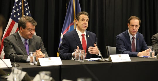 New York Gov. Andrew Cuomo discusses the new cases of the coronavirus in New Rochelle, during a press briefing at the New York Power Authority in White Plains, March 4, 2020.