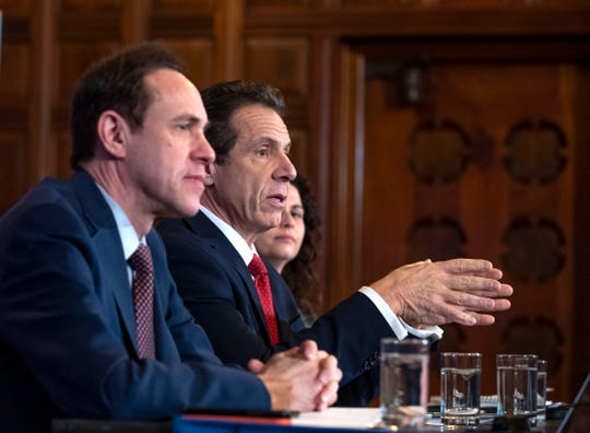 Gov. Andrew Cuomo spoke during a press conference on coronavirus in the Red Room at the State Capitol in Albany on March 4, 2020.