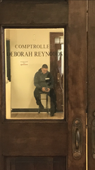 Richard Talero, a security guard hired by Mount Vernon Comptroller Deborah Reynolds in 2018, in the office on Feb. 6, 2019.