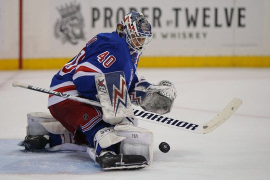 Mar 3, 2020; New York, New York, USA; New York Rangers goalie Alexandar Georgiev (40) makes a save against the St. Louis Blues during the first period at Madison Square Garden.