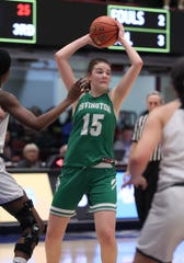 Irvington's Katie LeBuhn looks to pass during a Class B semifinal with Briarcliff at the Westchester County Center Mar. 3, 2020. Irvington won 53-30.