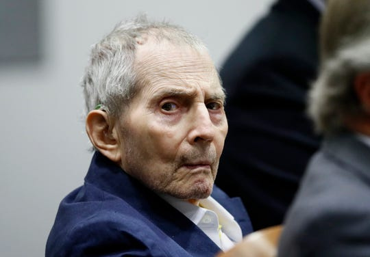 Real estate heir Robert Durst sits during his murder trial at the Airport Branch Courthouse in Los Angeles on Wednesday, March 4, 2020. After a Hollywood film about him, an HBO documentary full of seemingly damning statements, and decades of suspicion, Durst is now on trial for murder. In opening statements Wednesday, prosecutors will argue Durst killed his close friend Susan Berman before New York police could interview her about the 1982 disappearance of Durst's wife. (Etienne Laurent/EPA via AP, Pool)