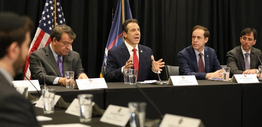 Gov. Andrew Cuomo speaks during a briefing on the New Rochelle coronavirus outbreak. The briefing was held March 4, 2020, at the New York Power Authority in White Plains.