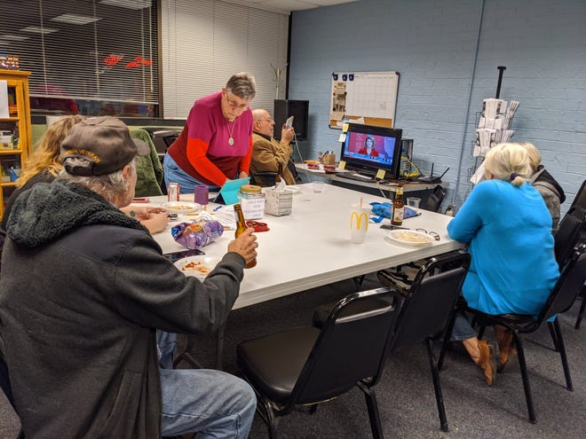 Wichita County Democrats watch as primary results come in Tuesday, March 3, 2020, at the Wichita County Democrats Headquarters.
