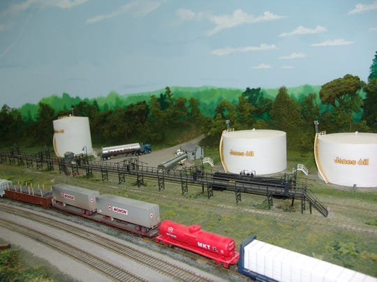 A portion of the model train set created by the Associated Model Railroad Engineers of Coshocton.