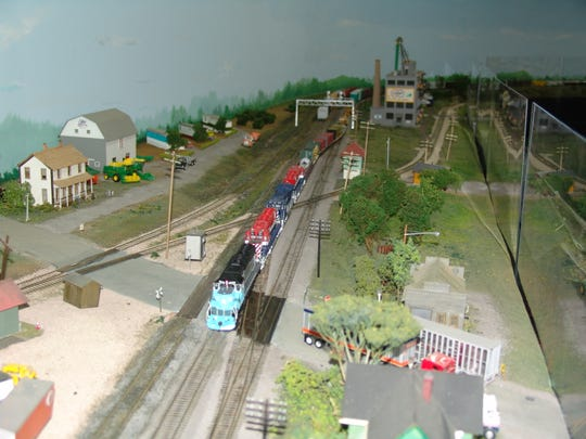The section of the model train setup that replicates the town of Quincy, Ohio.