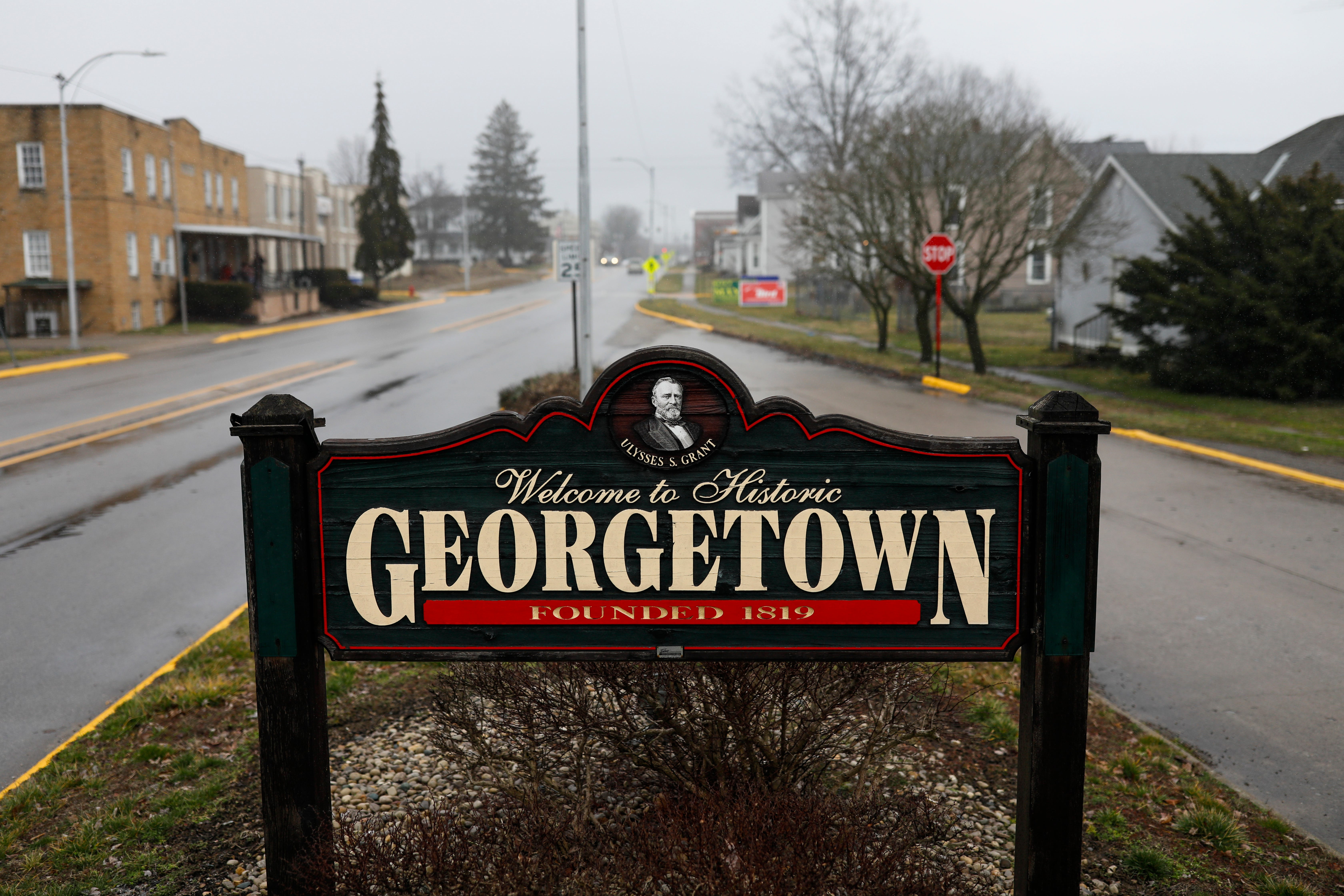 A sign welcomes visitors on Tuesday, March 3, 2020 in Georgetown, Ohio. [Joshua A. Bickel/Dispatch]