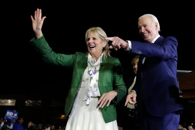 Joe and Jill Biden attend a primary election night rally March 3 in Los Angeles. [ASSOCIATED PRESS ARCHIVE / 2020]