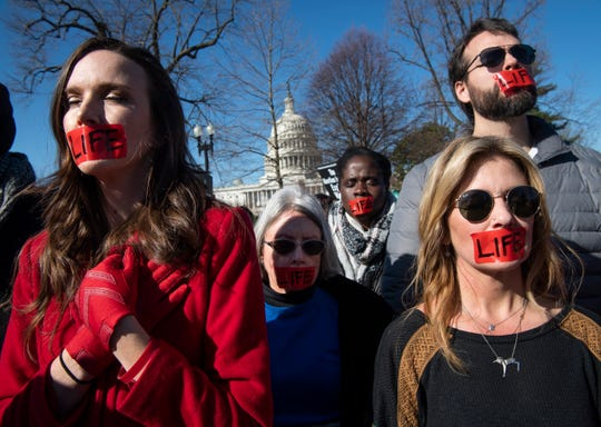 Activists rally outside the Supreme Court of the United States in Washington, DC on March 4. 2020, during oral arguments for a major abortion-related Supreme Court case, June Medical Services LLC v. Russo.