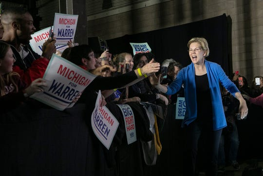Democratic presidential candidate Sen. Elizabeth Warren greets the crowd in Shed 5 at Eastern Market in Detroit Tuesday March 3, 2020.