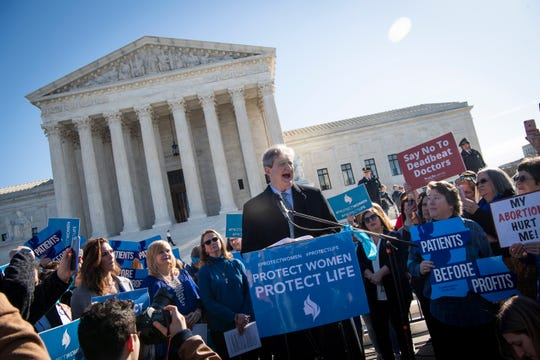 Sen. John Kennedy, R-La., speaking to activists who rally outside the Supreme Court of the United States in Washington, DC on March 4. 2020, during oral arguments for a major abortion-related Supreme Court case, June Medical Services LLC v. Russo.